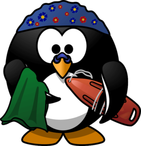 Linux penguin with a life float